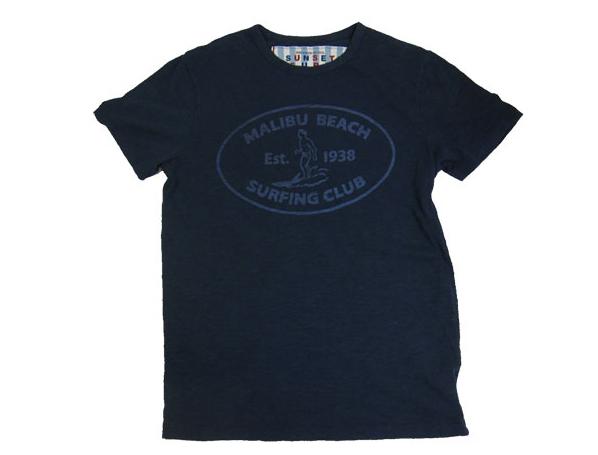 SUNSET SURF サンセットサーフ メンズ 半袖 Tシャツ「マリブ サーフ」デッドネイビー by ジョンソンモータース JOHNSON MOTORS アメカジ バイカー