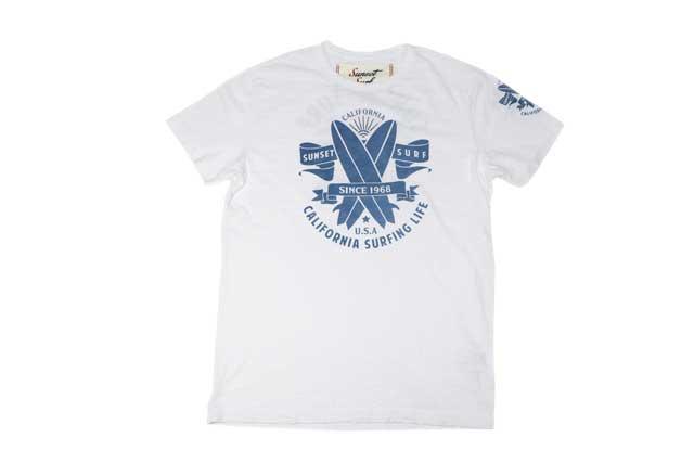 SUNSET SURF サンセットサーフ メンズ 半袖 Tシャツ「サンセットロゴ」オプティックホワイト あす楽 ジョンソンモータース JOHNSON MOTORS アメカジ バイカー