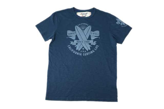 SUNSET SURF サンセットサーフ メンズ 半袖 Tシャツ「サンセットロゴ」デッドネイビー あす楽 ジョンソンモータース アメカジ バイカー