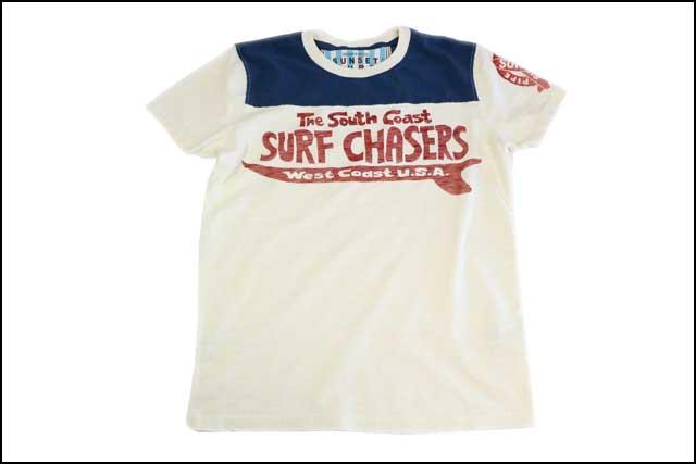 メンズ Tシャツ BY アメカジ ジョンソンモータース あす楽 ダーティーホワイト SUNSET SURF サンセットサーフ JOHNSON MOTORS 「サーフバス」 半袖 バイカー