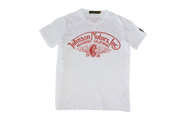 JOHNSON MOTORS ジョンソンモータース S/S Tシャツ 「ウイングホイール」オプティックホワイト/レッド あす楽 ジョンソン・モータース アメカジ バイカー