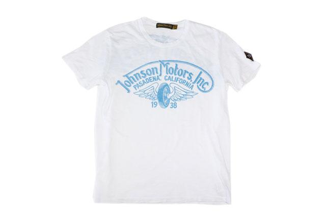 JOHNSON MOTORS ジョンソンモータース S/S Tシャツ 「ウイングホイール」オプティックホワイト/ブルー あす楽 ジョンソン・モータース アメカジ バイカー