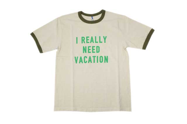 GOOD ON/グッドオン メンズ半袖 リンガーTシャツ「ニードバケーション」 ベージュ/オリーブ あす楽 送料無料