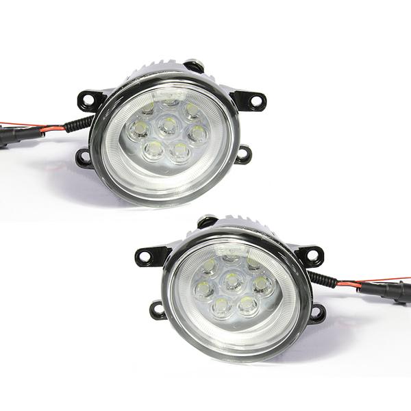 【送料無料】純正タイプ トヨタ汎用 CCFLリング H8/H11 16連LED内臓 フォグランプユニット 白(ホワイト) クリスタルメッキ LEDフォグライトユニット