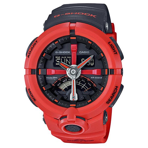 CASIO G-SHOCK ジーショック メンズ 腕時計 GA-500p-4AJF レッド ブラック パンチングパターン