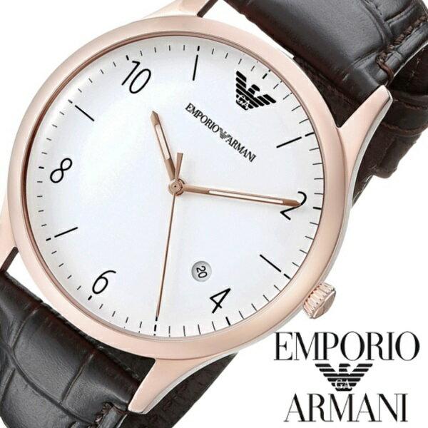 EMPORIO ARMANI エンポリオアルマーニ men's メンズ 腕時計 ブラウン レザー うでどけい