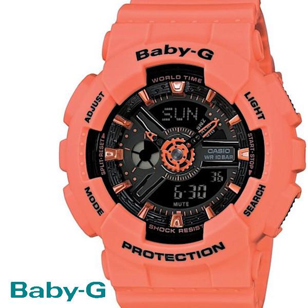 【店内全品ポイント2倍!!】CASIO/BABY-G/カシオ ベビーG クオーツ 腕時計 うでどけい レディース LADIE'S ブラック オレンジ BA-111-4A2