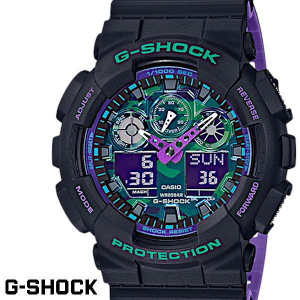 【店内全品ポイント2倍!!】G-SHOCK CASIO 腕時計 メンズ GA-100BL-1A デジアナ デジタル アナログ BIG FACE うでどけい スペシャルカラー ブラック