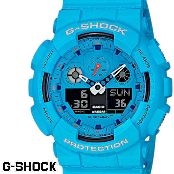 【店内全品ポイント2倍!!】G-SHOCK CASIO 腕時計 メンズ GA-100RS-2A デジアナ デジタル アナログ BIG FACE うでどけい スペシャルカラー ブルー