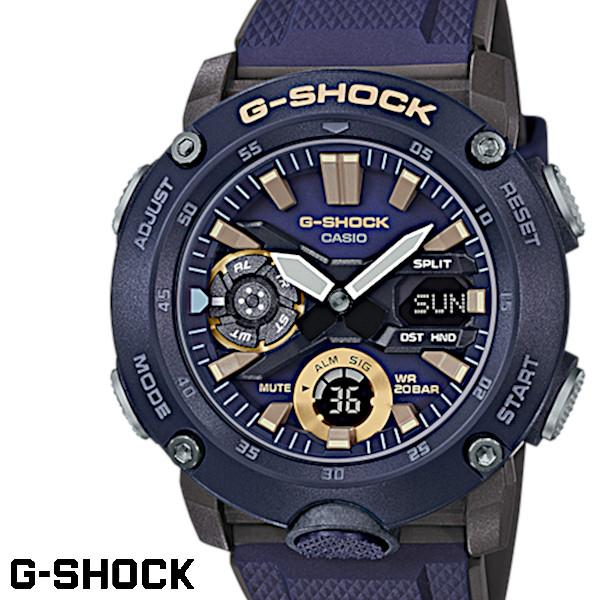 CASIO G-SHOCK ジーショック メンズ 腕時計 GA-2000-2A カーボンコアガード構造 ネイビー ブラック