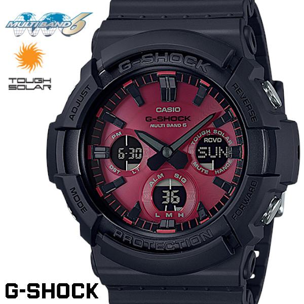 【店内全品ポイント2倍!!】CASIO G-SHOCK 電波ソーラー GAW-100AR-1A Gショック アナログ デジタル 腕時計 メンズ ブラック レッド 電波 ソーラー カシオ