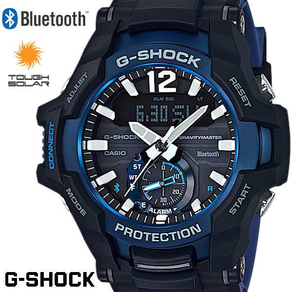 CASIO カシオ G-SHOCK ジーショック メンズ 腕時計 GRAVITYMASTER GR-B100-1A2JF ブラック ブルー タフソーラー Bluetooth