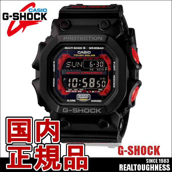 CASIO G-SHOCK ジーショック メンズ 腕時計 GXW-56-1AJF GXseries ジーエックスシリーズ ソーラー電波 電波時計 ブラック レッド