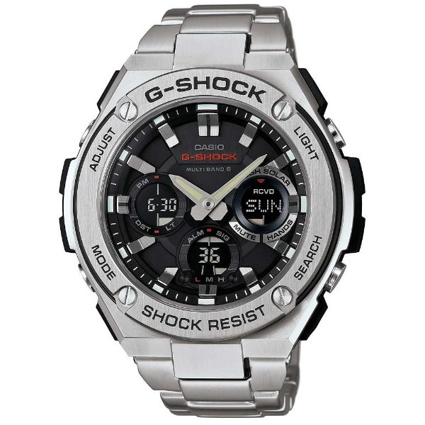 【店内全品ポイント2倍!!】CASIO G-SHOCK ジーショック メンズ 腕時計 GST-W110D-1AJF 電波ソーラー 電波時計 Gスチール アナデジ ブラック シルバー