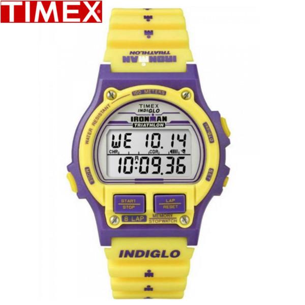 【店内全品ポイント2倍!!】TIMEX/タイメックス/アイアンマン 8ラップ 限定モデル デジタル 腕時計 メンズ時計 T5K840 イエロー パープル