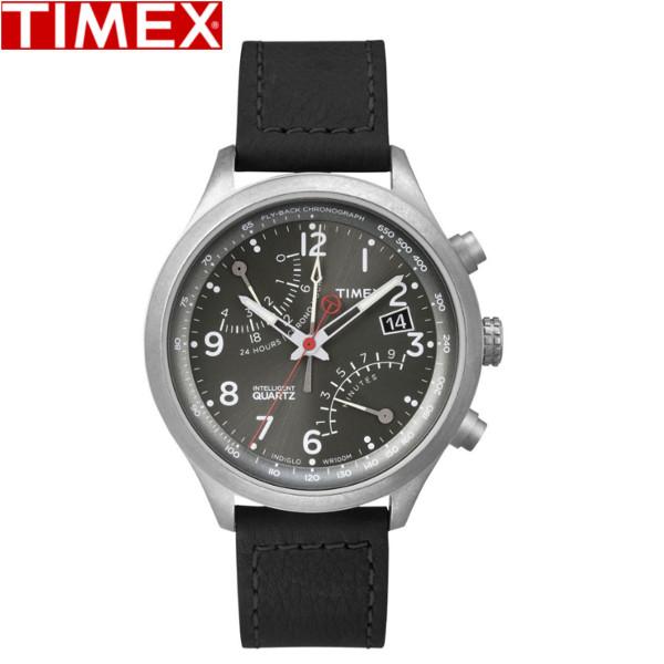 【店内全品ポイント2倍!!】TIMEX/タイメックス/インテリジェント レーシングフライバック クロノグラフ クオーツ 腕時計 T2P509 レザーベルト ブラック