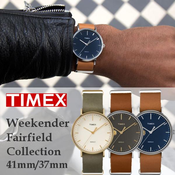 TIMEX タイメックス weekender fairfield ウィークエンダーフェアフィールド 腕時計 メンズ うでどけい レザーベルト ブラウン レディース ペア 37mm 41mm