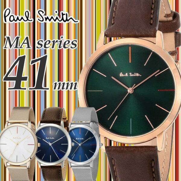 【送料無料】【ポールスミス PAUL SMITH】腕時計 うでどけい メンズ メッシュ 本革 ゴールド シルバー クオーツ ブラック 41mm MAシリーズ