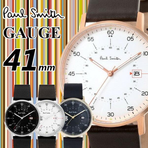 【あす楽 送料無料】【ポールスミス PAUL SMITH】腕時計 うでどけい メンズ メッシュ 本革 ゴールド シルバー クオーツ ブラック 41mm GAUGE シリーズ ブランド