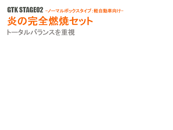 トータルバランスを重視したお得なセットパワーアップ 省燃費の決定版 燃費改善 正規激安 トルクアップ GTK STAGE02 軽自動車タイプ 結婚祝い 炎の完全燃焼セット- -