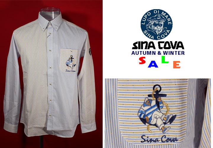 シナコバ 開店祝い 40%OFF 秋冬長袖クレージーボタンダウンシャツ Mサイズ ブルー×黄 お気に入り ブルー 白 ストライプ-ok56