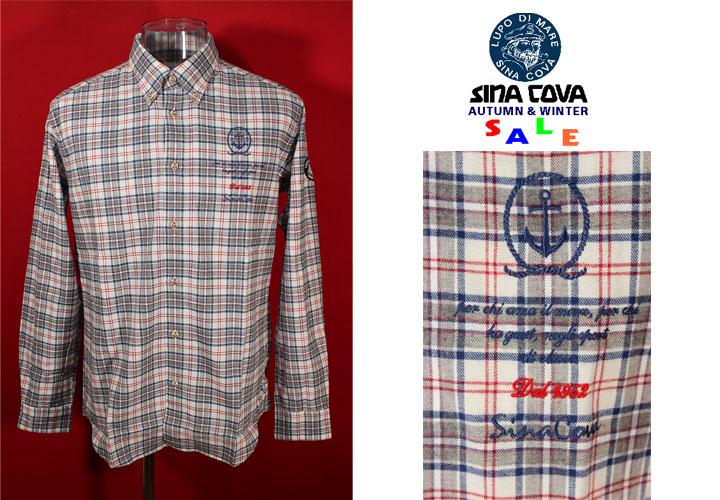 ★シナコバ<40%OFF>秋冬長袖ボタンダウンシャツ<Lサイズ>オフ白×グレー×ブルー×赤・チェック-on116