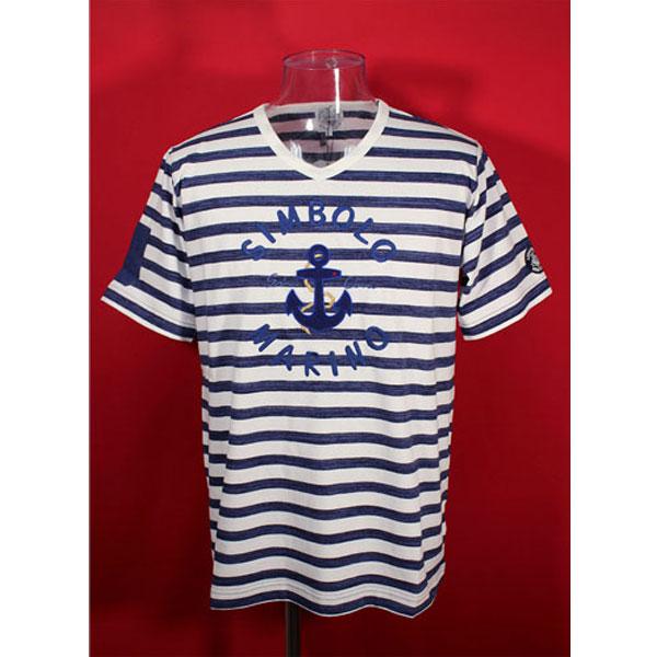 ★シナコバ<33%OFF>春夏半袖デザインVTシャツ<LLサイズ>紺×白・ボーダー-ot79