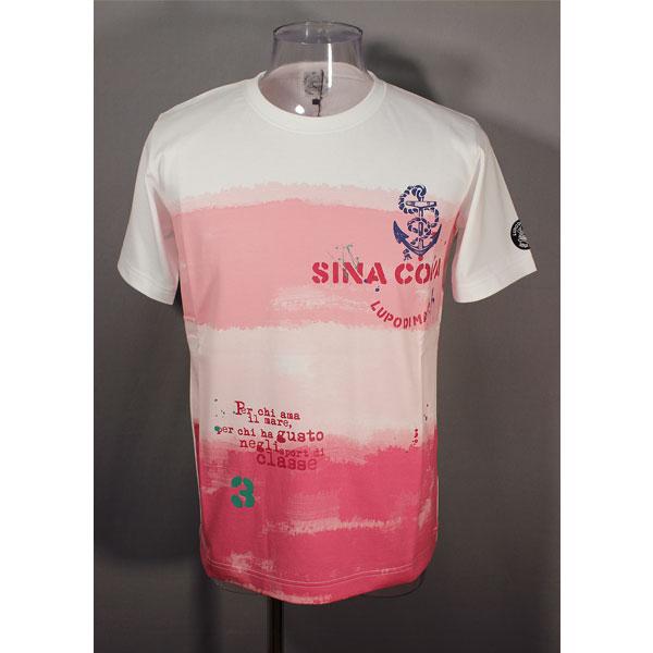 ★シナコバ<33%OFF>春夏半袖Tシャツ<Mサイズ>白×ピンク・グラデーション-ot73
