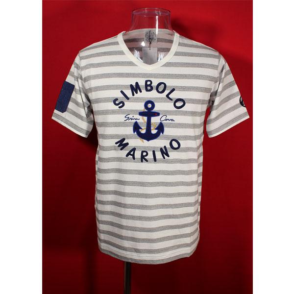 ★シナコバ<33%OFF>春夏半袖デザインVTシャツ<LLサイズ>モクグレー×白・ボーダー-ot82