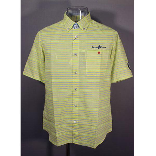 ★シナコバ<33%OFF>春夏半袖ボタンダウンシャツ<Lサイズ>黄×ブルー×蛍光グリーン・ボーダー-ot322