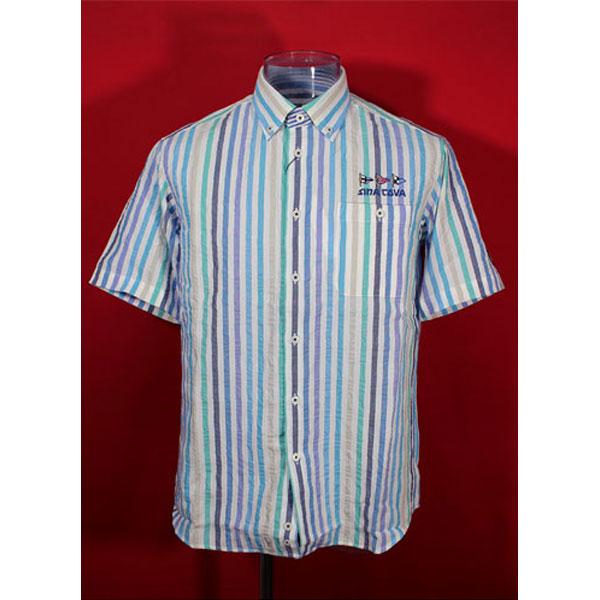 ★シナコバ<40%OFF>春夏半袖ボタンダウンシャツ<Mサイズ>オフ白・ブルー・ストライプ-ou15