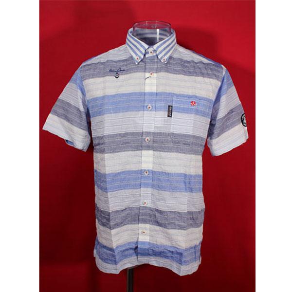 ★シナコバ<40%OFF>春夏半袖ボタンダウンシャツ<LLサイズ>白×ブルー×紺・ボーダー-ou29