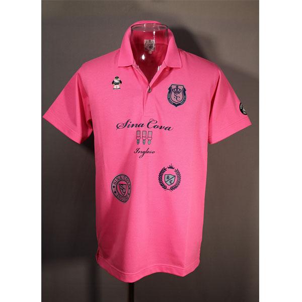 ★シナコバ<40%OFF>春夏半袖ポロシャツ<Lサイズ>ピンク-ou70