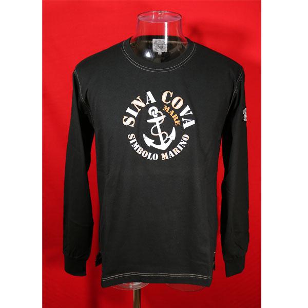 ★シナコバ<40%OFF・SINA COVA & Guest-One コラボTシャツ 限定品>長袖Tシャツ<キングサイズ>黒-kb22