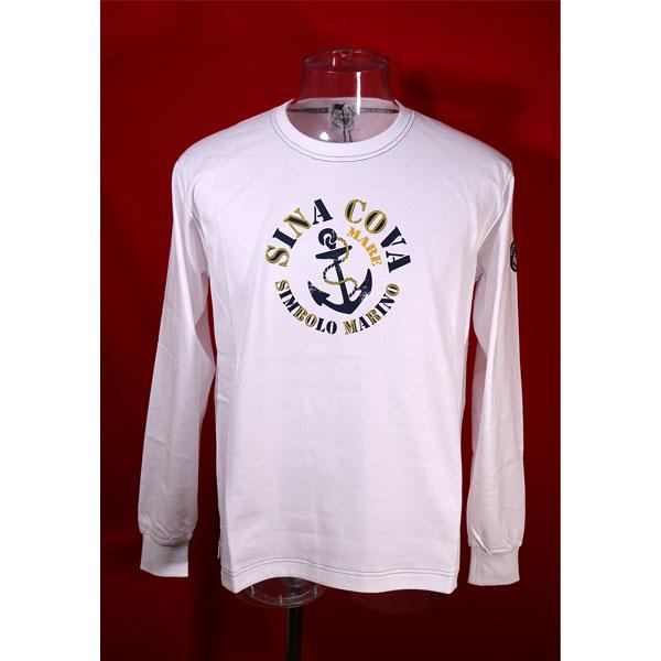 ★シナコバ<40%OFF・SINA COVA & Guest-One コラボTシャツ 限定品>長袖Tシャツ<キングサイズ>白-kb110