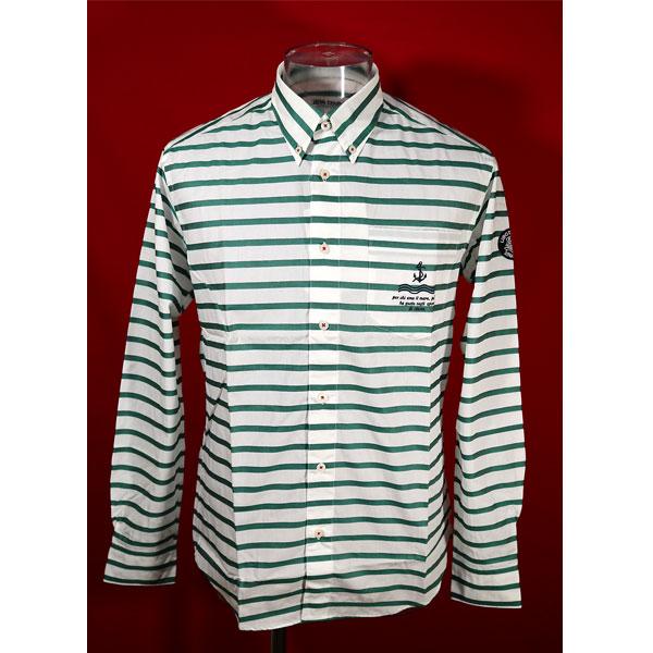 ★シナコバ<50%OFF>長袖ボタンダウンシャツ<Lサイズ>白・グリーン・ボーダー-kc6