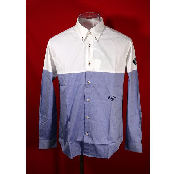 ★シナコバ<50%OFF>長袖ボタンダウンシャツ<Mサイズ>白・ブルー-kc12