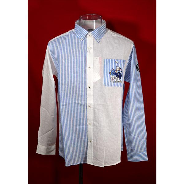 ★シナコバ<50%OFF>長袖クレージーボタンダウンシャツ<Lサイズ>ブルー×ホワイト-kc24