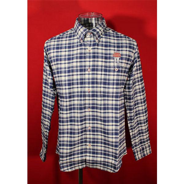 ★シナコバ<50%OFF>長袖ボタンダウンシャツ<キングサイズ>紺・白-kc43