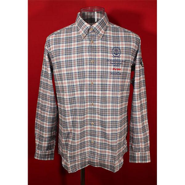 ★シナコバ<50%OFF>長袖ボタンダウンシャツ<Lサイズ>オフ白×グレー×ブルー×赤・チェック-kc48
