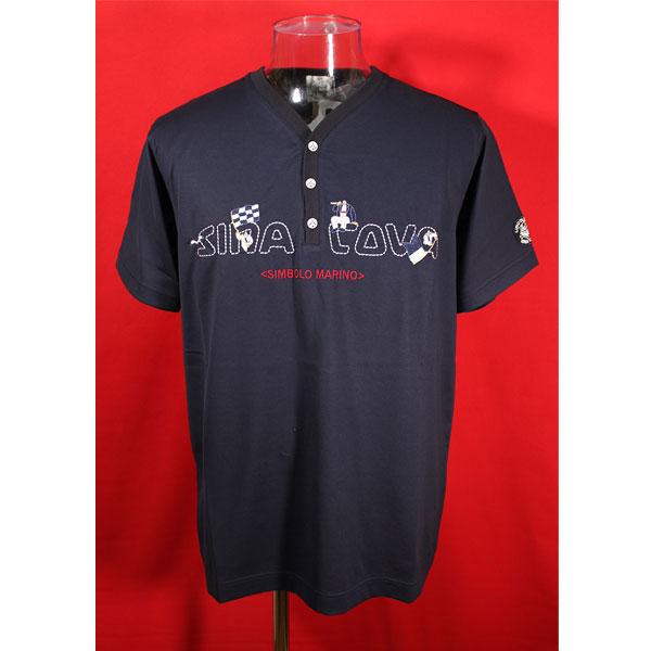★シナコバ<33%OFF>春夏ヘンリーネック半袖Tシャツ<Lサイズ>紺-kd318