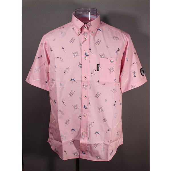 シナコバ 33%OFF 春夏半袖ボタンダウンシャツ Mサイズ 売却 ピンク モデル着用&注目アイテム プリント-kd341
