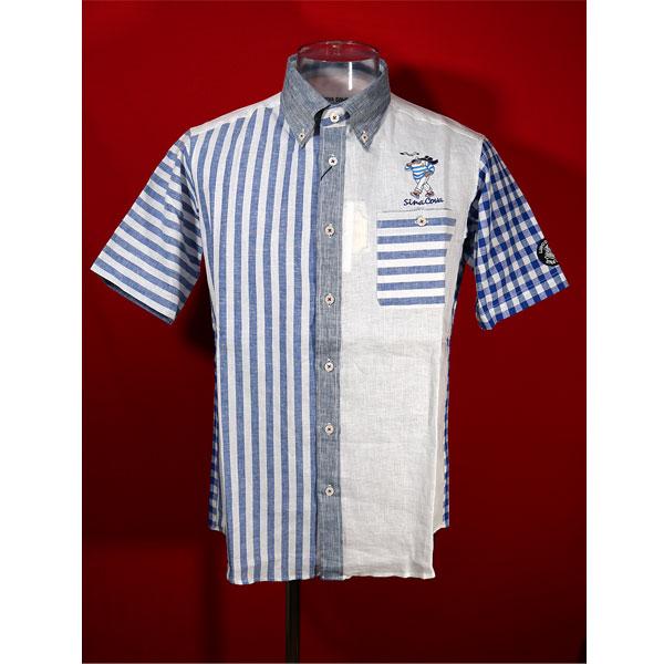 ★シナコバ<33%OFF>春夏半袖クレージーシャツ<LLサイズ>ブルー・白-kd370
