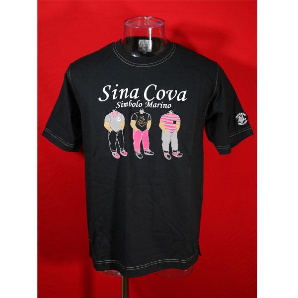 ★シナコバ<40%OFF・SINA COVA & Guest-One コラボTシャツ 限定品>春夏半袖Tシャツ<キングサイズ>黒-kf226