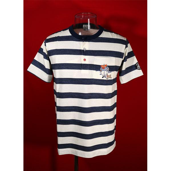 ★シナコバ<45%OFF>春夏ヘンリー半袖Tシャツ<Mサイズ>オフ白・紺・ボーダー-kh65