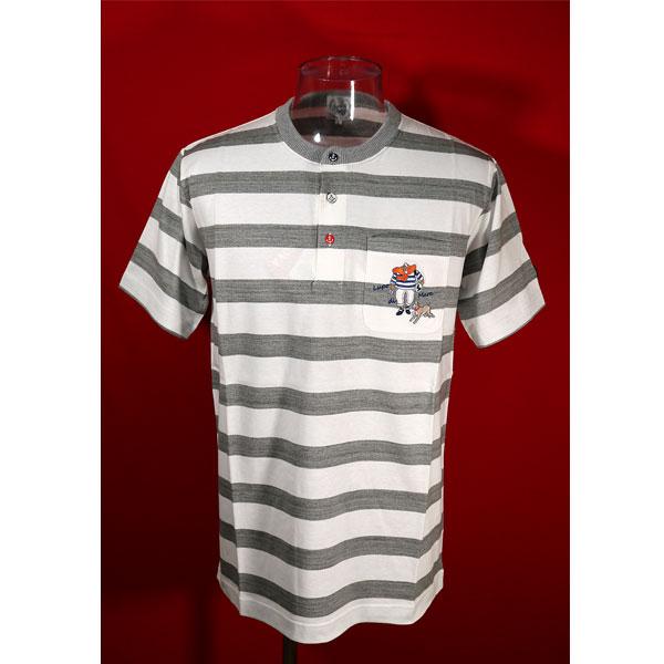 ★シナコバ<45%OFF>春夏ヘンリー半袖Tシャツ<Lサイズ>オフ白・モクグレー・ボーダー-kh66