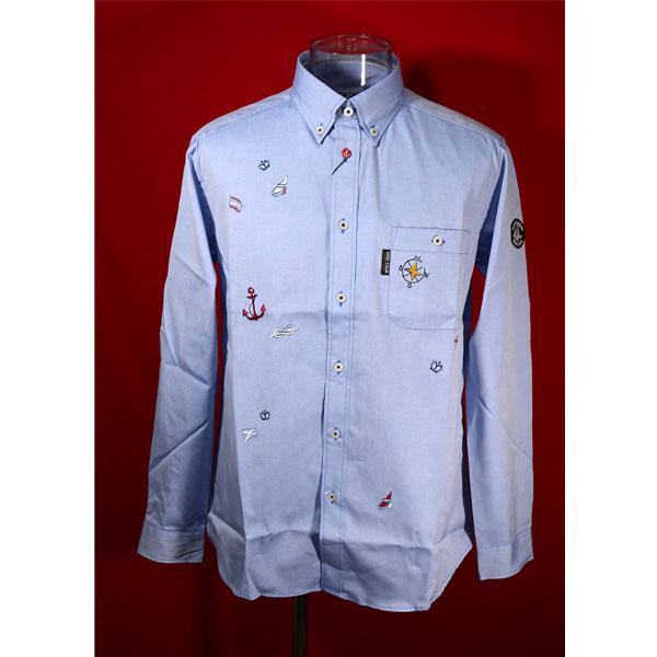 シナコバ 33%OFF 定番 秋冬長袖ボタンダウンシャツ Lサイズ シャンブレーブルー-kk49 格安