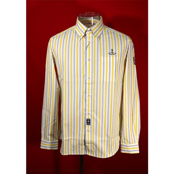 シナコバ 評判 33%OFF 秋冬長袖ボタンダウンシャツ Mサイズ ストライプ-kk121 ライトグレー×イエロー 定番スタイル 白