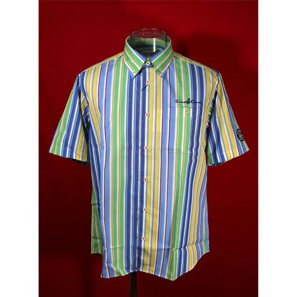 シナコバ 33%OFF 春夏半袖ボタンダウンシャツ 《週末限定タイムセール》 キングサイズ ストライプ-ko374 ブルー×イエロー×グリーン 記念日