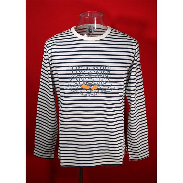 シナコバ 数量限定 45%OFF 年末年始大決算 春夏長袖Tシャツ Lサイズ ボーダー-ko67 オフホワイト ネイビー